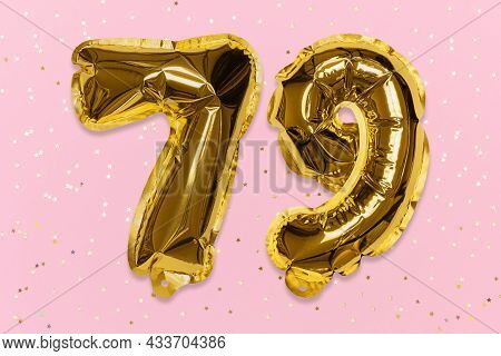 The Number Of The Balloon Made Of Golden Foil, The Number Seventy-nine On A Pink Background With Seq