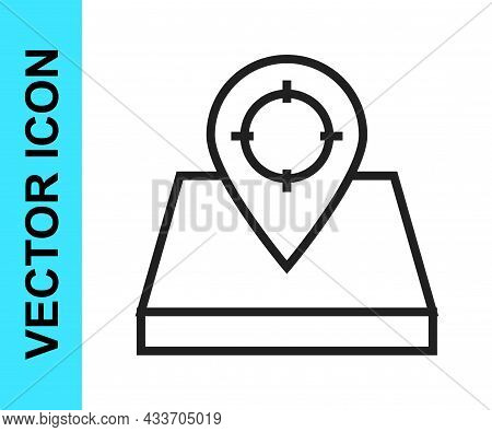 Black Line Hunt Place Icon Isolated On White Background. Navigation, Pointer, Location, Map, Gps, Di