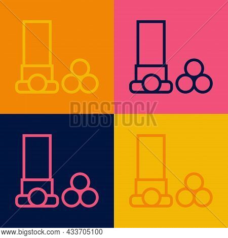 Pop Art Line Cartridges Icon Isolated On Color Background. Shotgun Hunting Firearms Cartridge. Hunt