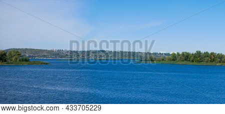 River Panoramic Landscape - View Of The River, Islands And The City On The Opposite Bank. View Of Sa