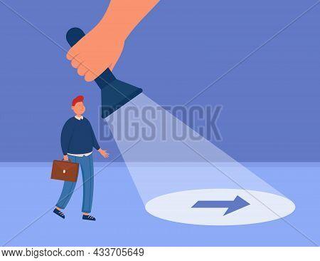 Businessman Following Arrow Sign Under Light Of Flashlight. Huge Hand Guiding Business Person Or Det