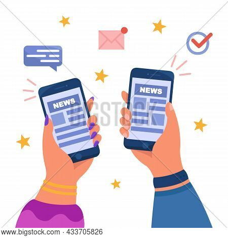 Hands Holding Mobile Phones With News Or Newsletters. Online Newspaper Application, Social Media Blo