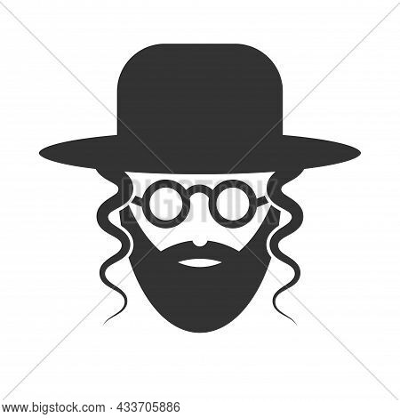 Bearded Jew With Hat And Sunglasses. Icon Of Hasid. Vector Illustration Isolated On White Background