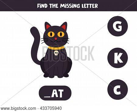 Find Missing Letter. Cute Black Cat. Educational Spelling Game For Kids.
