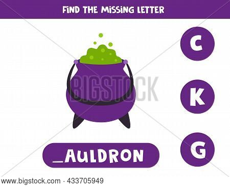 Find Missing Letter. Halloween Cauldron. Educational Spelling Game For Kids.