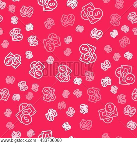 White Line Stacks Paper Money Cash Icon Isolated Seamless Pattern On Red Background. Money Banknotes