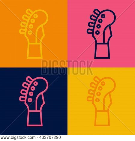 Pop Art Line Guitar Neck Icon Isolated On Color Background. Acoustic Guitar. String Musical Instrume