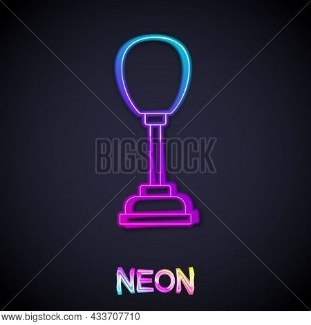 Glowing Neon Line Punching Bag Icon Isolated On Black Background. Vector