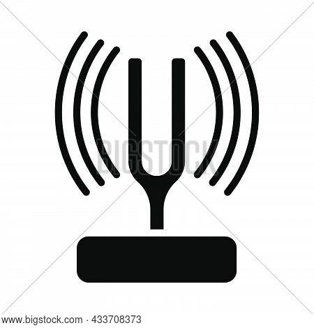 Tuning Fork Icon. Black Stencil Design. Vector Illustration.