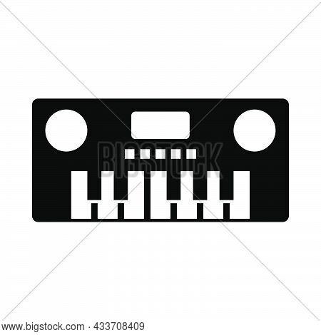 Music Synthesizer Icon. Black Stencil Design. Vector Illustration.
