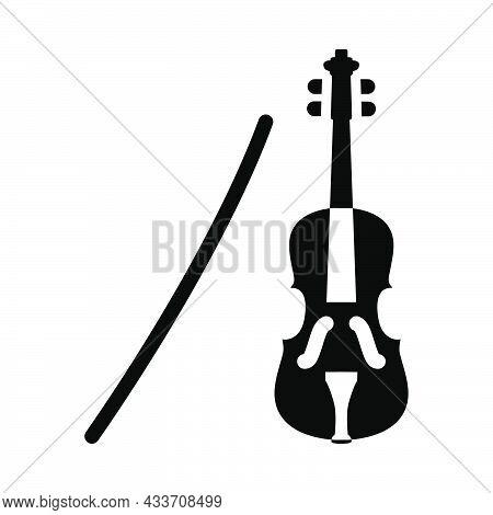 Violin Icon. Black Stencil Design. Vector Illustration.