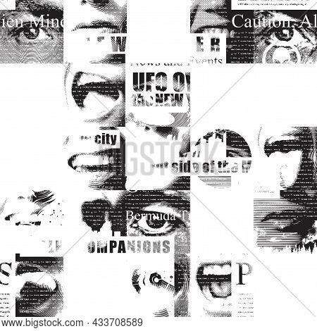 Abstract Seamless Pattern With Fragments Of Illegible Newspaper Text, Illustrations And Titles In Gr