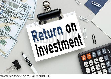 Roi Acronym On Blue Paper, Return On Investment