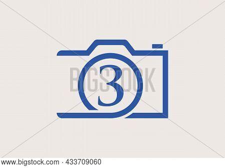 Photography Logo Design On Letter 3. Letter 3 Photography Logo Design. Camera Logo Design Inspiratio