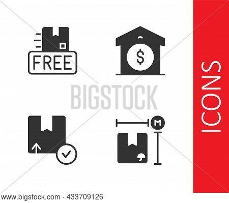 Set Cardboard Box Measurement, With Free Symbol, Carton Cardboard And Warehouse Price Icon. Vector