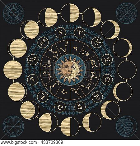 Vector Banner With The Moon, The Sun, Zodiac Constellations, Moon Phases And Esoteric Signs Written