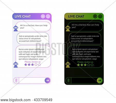 Chat Bot Window. Dark And Light Mode. User Interface Of Application With Online Dialogue. Conversati