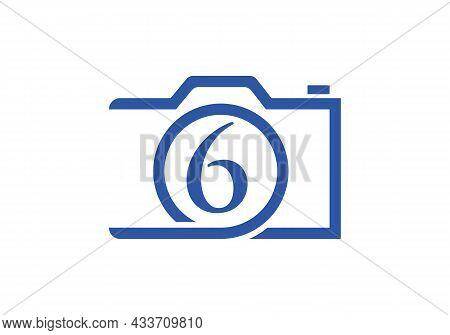 Photography Logo Design On Letter 6. Letter 6 Photography Logo Design. Camera Logo Design Inspiratio