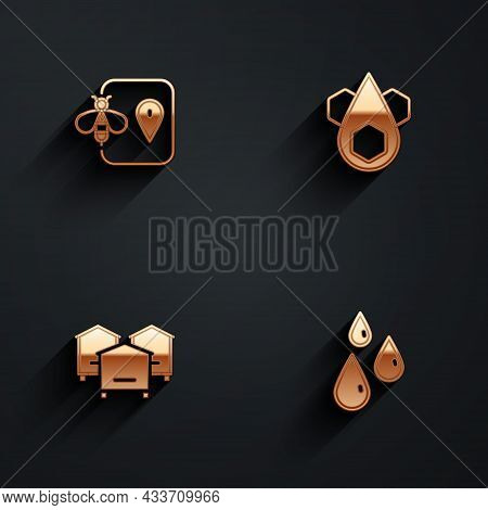 Set Bee Location, Honeycomb, Hive For Bees And Drops Of Honey Icon With Long Shadow. Vector