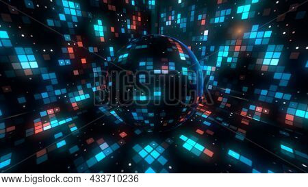 Rotating Sparkling Disco Ball At The Concept Of Night Party. Motion. Abstract Spinning Disco Ball Cr