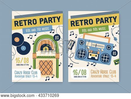 Posters Templates For Retro Music Parties Of 60s, 70s, 80s And 90s. Promo Flyers Designs For Nostalg