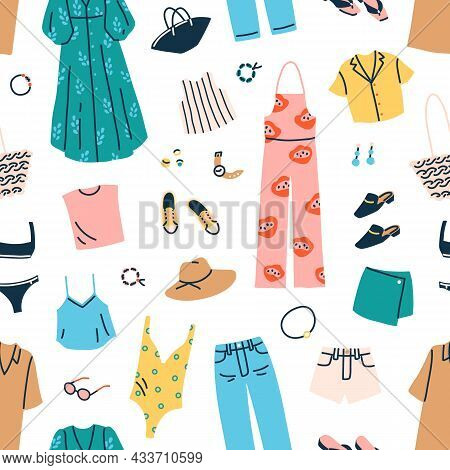 Fashion Clothes And Accessories Pattern. Seamless Repeating Background With Womans Summer Trendy Gar