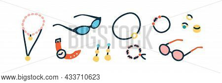 Women Accessories Set. Gold Rings, Necklaces, Earrings, Bracelets, Pendants, Watches And Summer Sung