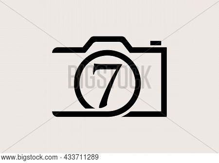 Photography Logo Design On Letter 7. Letter 7 Photography Logo Design. Camera Logo Design Inspiratio