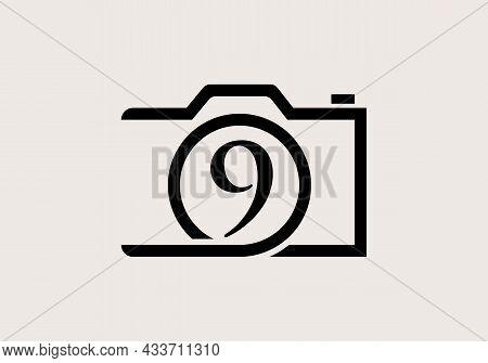Photography Logo Design On Letter 9. Letter 9 Photography Logo Design. Camera Logo Design Inspiratio