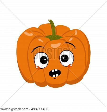 Cute Pumpkin Character With Emotions Panic, Surprised Face, Shocked Eyes. Festive Decoration For Hal