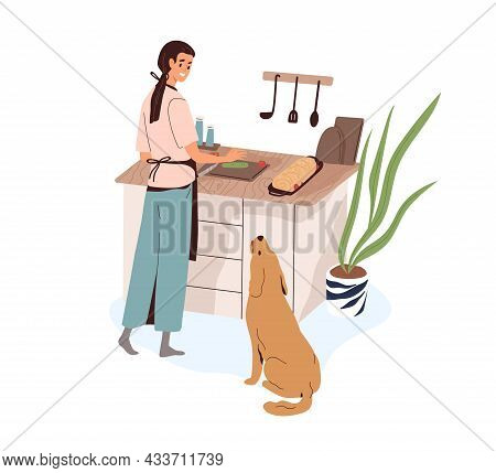 Woman Cooking Food For Home Dinner At Kitchen. Happy Person Preparing Meat Dish. Female Cook Meal, D