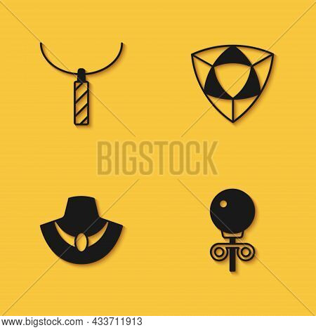 Set Pendant On Necklace, Stud Earrings, Necklace Mannequin And Diamond Icon With Long Shadow. Vector