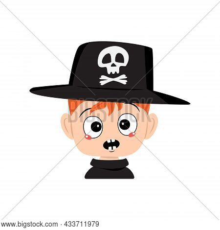 Avatar Of Boy With Red Hair And Emotions Panic, Surprised Face, Shocked Eyes In Hat With Skull. The