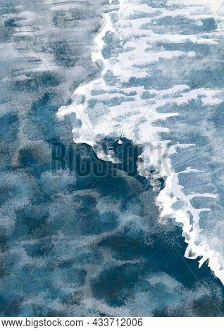 Boho Sea With Waves Print.. Abstract Background. Bohemian Printable Wall Art, Boho Poster, Pastel Ab
