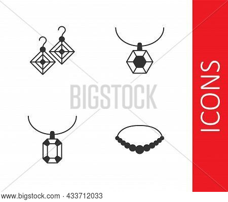 Set Pearl Necklace, Earrings, Pendant On And Icon. Vector