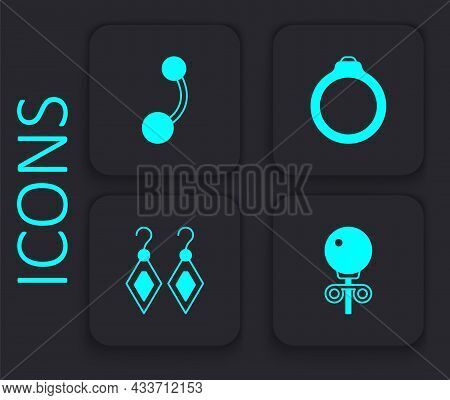 Set Stud Earrings, Piercing, Diamond Engagement And Earrings Icon. Black Square Button. Vector