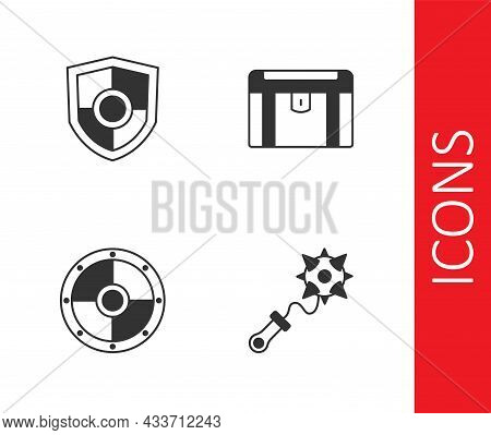 Set Mace With Spikes, Shield, Round Shield And Antique Treasure Chest Icon. Vector