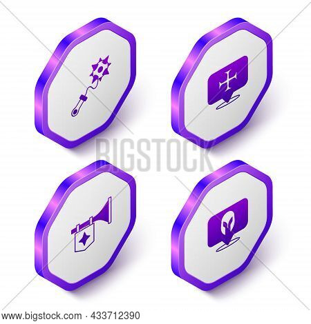 Set Isometric Mace With Spikes, Crusade, Trumpet Flag And Medieval Helmet Icon. Purple Hexagon Butto