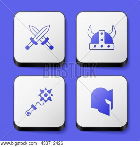 Set Crossed Medieval Sword, Viking In Horned Helmet, Mace With Spikes And Medieval Icon. White Squar