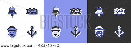Set Anchor, Ship Bell, Sailor And Nautical Rope Knots Icon. Vector