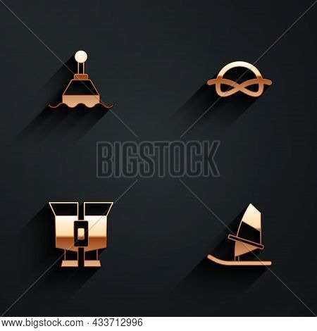 Set Floating Buoy, Nautical Rope Knots, Binoculars And Windsurfing Icon With Long Shadow. Vector