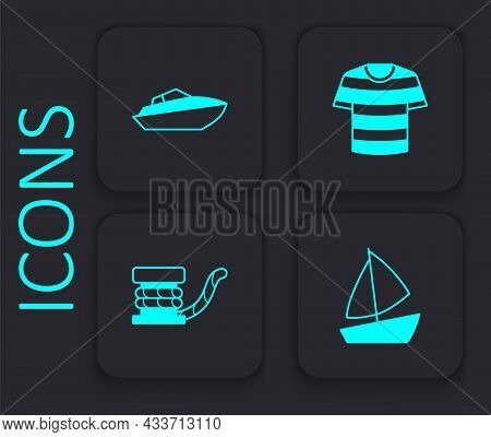Set Yacht Sailboat, Speedboat, Striped Sailor T-shirt And Marine Bollard With Rope Icon. Black Squar
