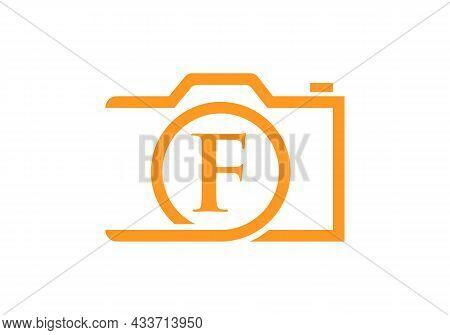 Photography Logo Design On Letter F. Letter F Photography Logo Design. Camera Logo Design Inspiratio