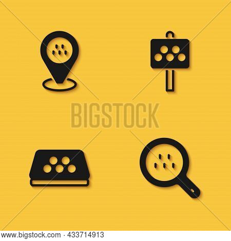 Set Location Taxi Car, Search, Taxi Roof And Road Sign For Stand Icon With Long Shadow. Vector