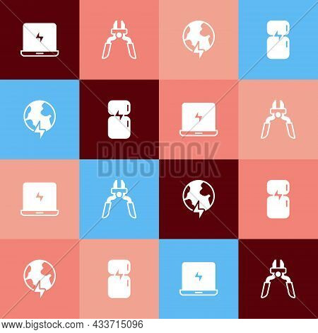 Set Pop Art Laptop, Pliers Tool, Global Planet With Thunderbolt And Refrigerator Icon. Vector