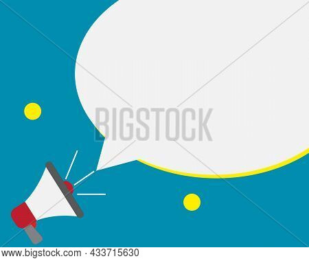 Megaphone Loud Hailer With Speech Bubble For Text Add On Blue Background