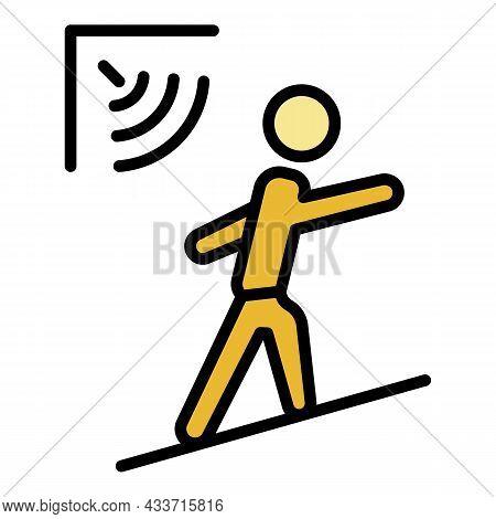 Man Motion Sensor Icon. Outline Man Motion Sensor Vector Icon Color Flat Isolated
