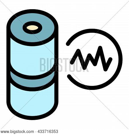Audio Wave Smart Speaker Icon. Outline Audio Wave Smart Speaker Vector Icon Color Flat Isolated