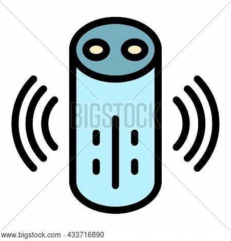 Loud Smart Speaker Icon. Outline Loud Smart Speaker Vector Icon Color Flat Isolated