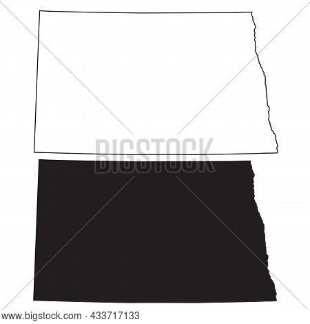 North Dakota Map On White Background. North Dakota State Map Sign. Outline Map Of North Dakota. Flat